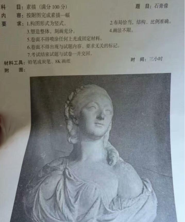 2017年云南美术联考素描考题