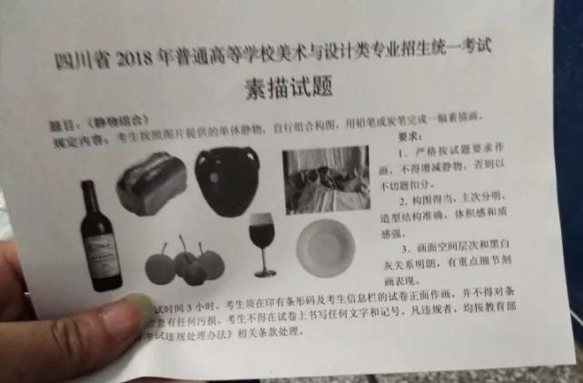2018年四川美术联考/统考考题素描