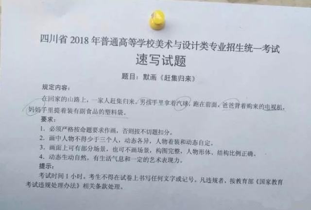 2018年四川美术联考/统考考题速写
