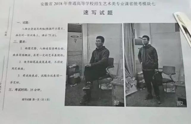 2018年安徽省美术联考考题速写
