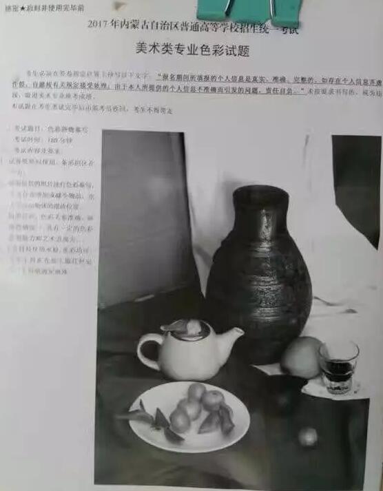 2017年内蒙古美术联考/统考考题色彩