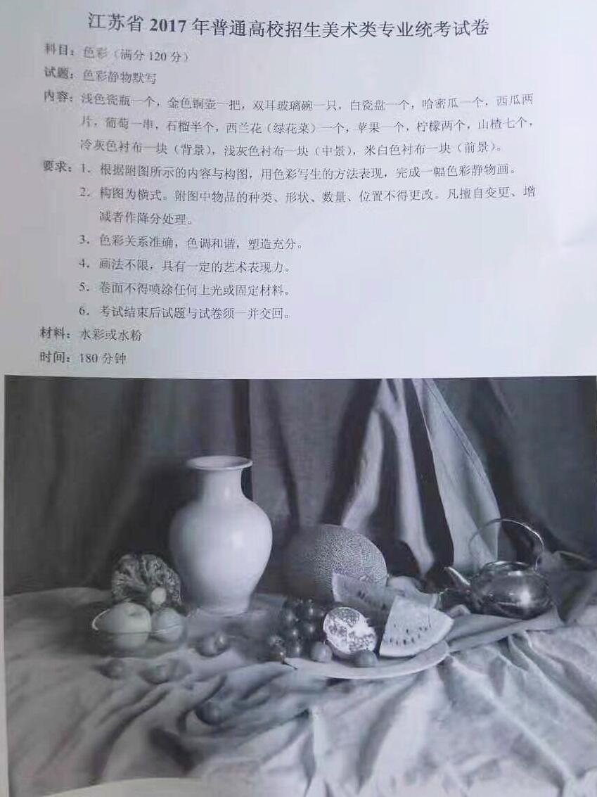 2017年江苏省美术联考考题素描