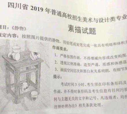 2019年四川美术联考/统考考题素描