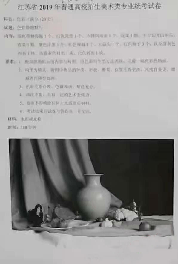 2018年江苏省美术联考考题色彩