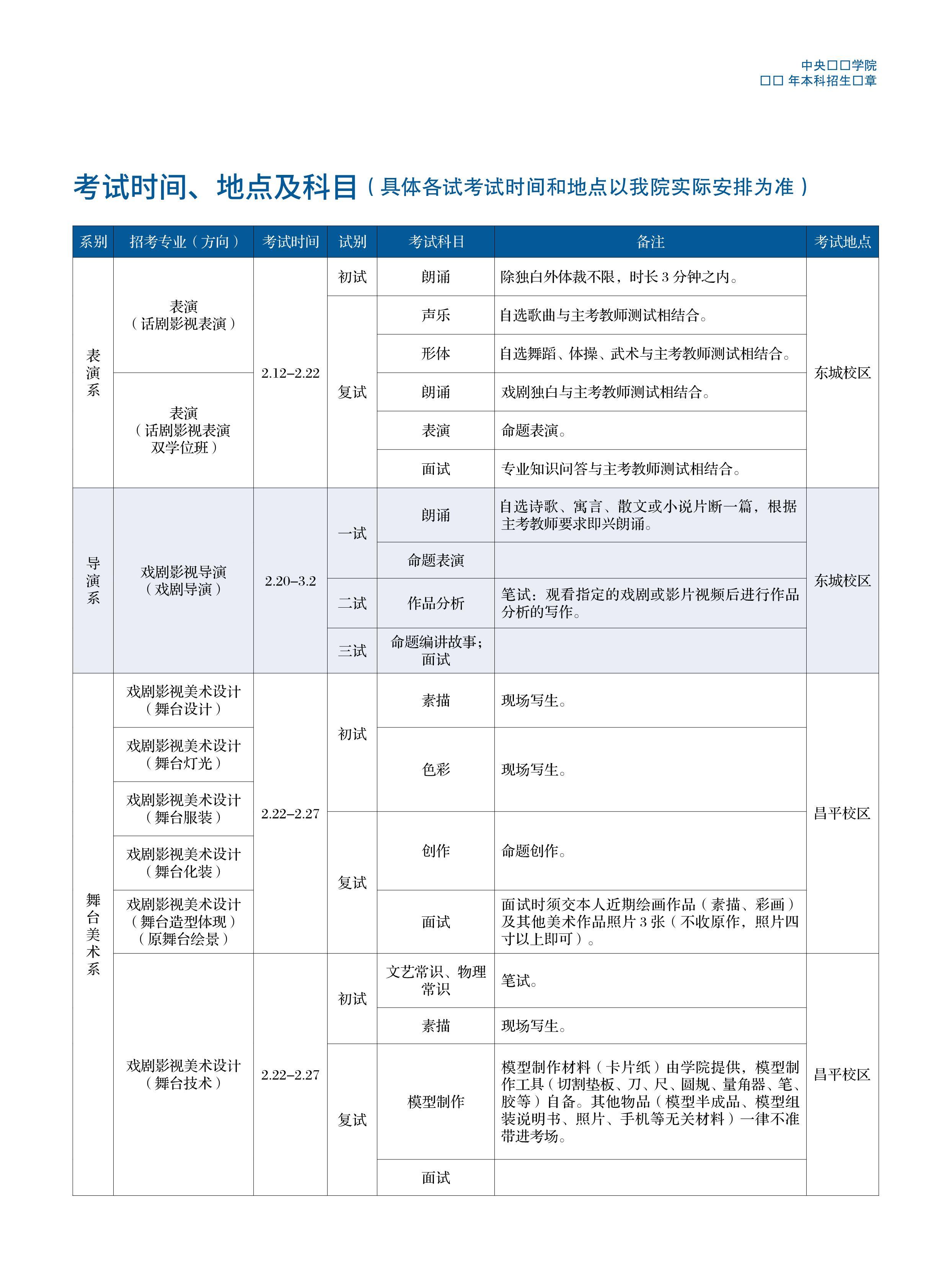 中心戲劇學院2019年本科招生簡章03