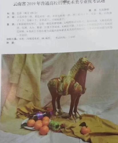 2019年云南联考/统考考题素描考题色彩