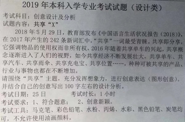 2019年天津美术学院校考考题(设计类专业)创业设计