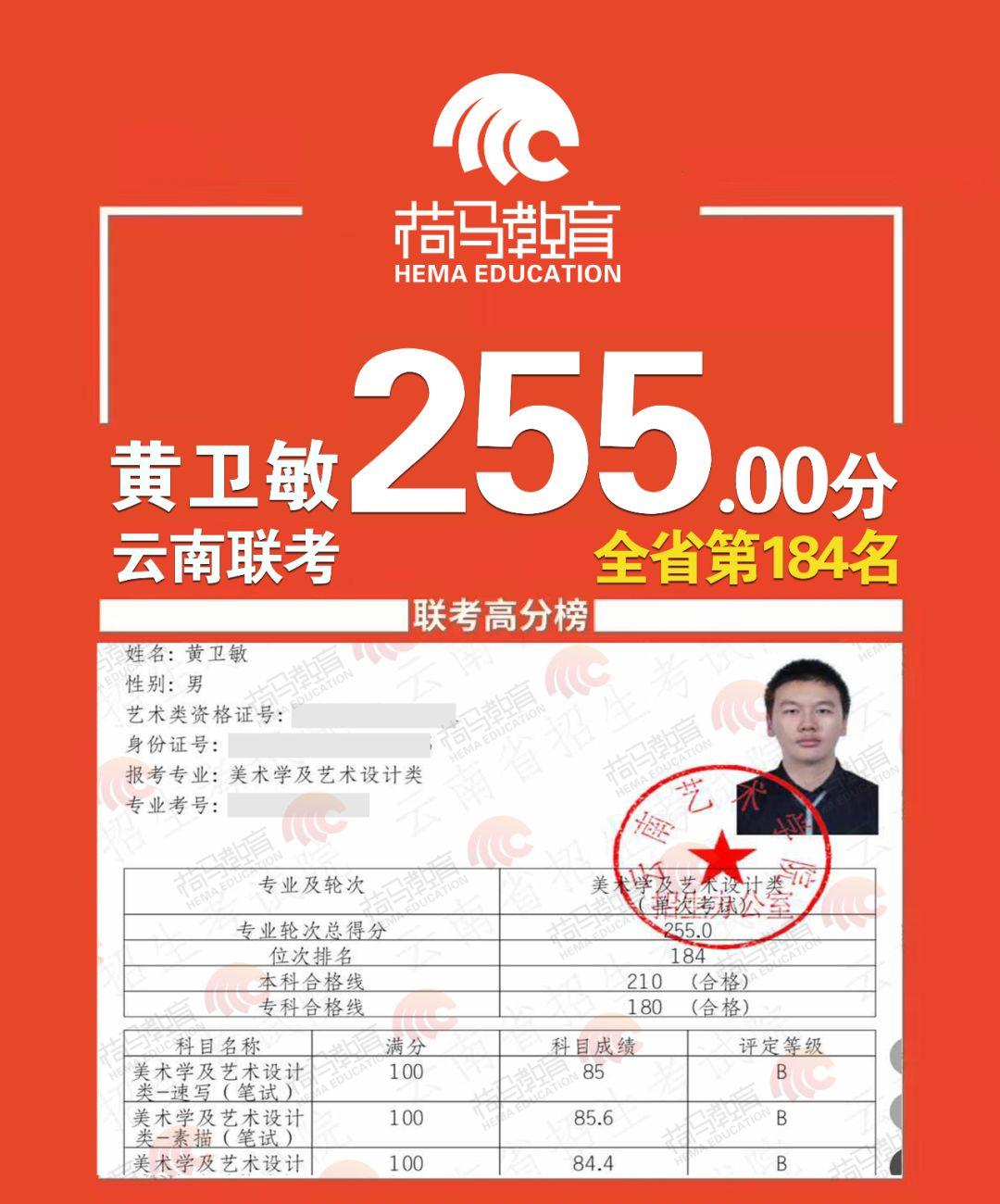 2019荷马教育云南校区联考成绩汇报